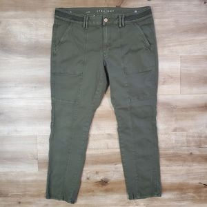 WHBM Olive Green The Straight Crop Pants Sz 12